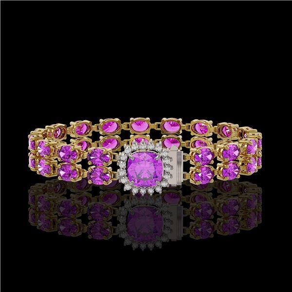 14.31 ctw Amethyst & Diamond Bracelet 14K Yellow Gold - REF-178W2H