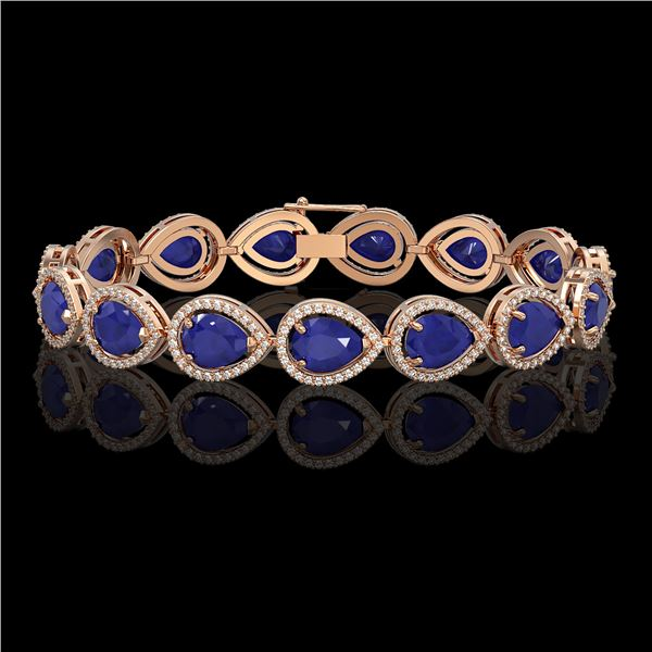 30.06 ctw Sapphire & Diamond Micro Pave Halo Bracelet 10k Rose Gold - REF-344R2K