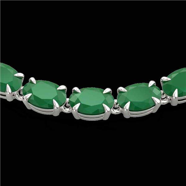 40 ctw Emerald Eternity Tennis Necklace 14k White Gold - REF-254N5F