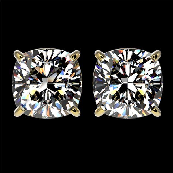 2.50 ctw VS/SI Quality Cushion Diamond Stud Earrings 10k Yellow Gold - REF-601A4N