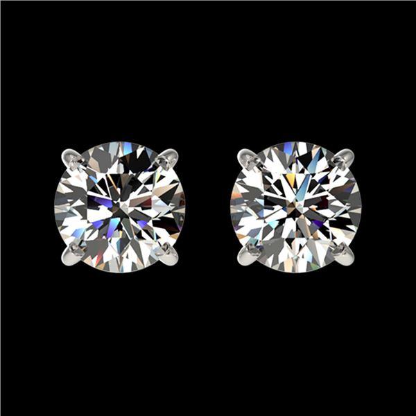 1.11 ctw Certified Quality Diamond Stud Earrings 10k White Gold - REF-72Y3X