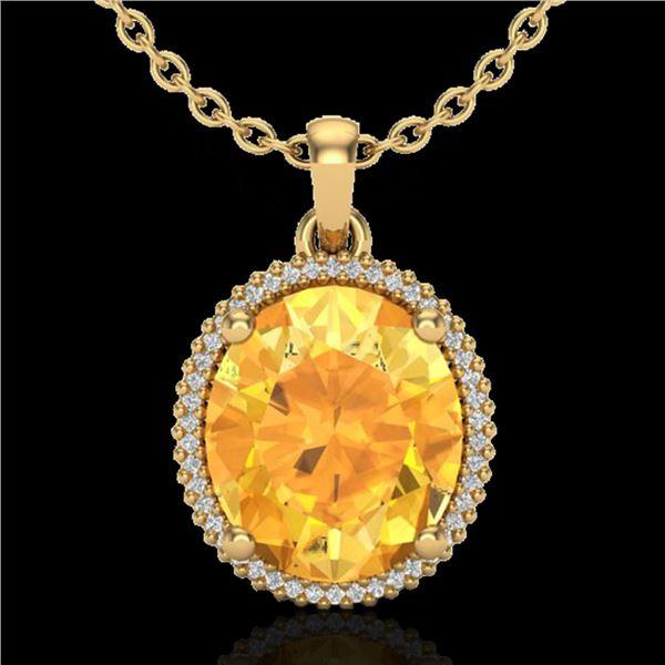 10 ctw Citrine & Micro Pave VS/SI Diamond Necklace 18k Yellow Gold - REF-75G5W