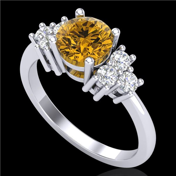 1.5 ctw Intense Fancy Yellow Diamond Ring 18k White Gold - REF-218F2M