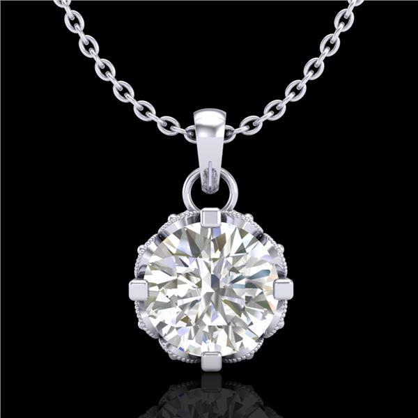 0.85 ctw VS/SI Diamond Solitaire Art Deco Stud Necklace 18k White Gold - REF-138G4W
