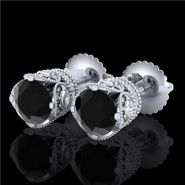 1.85 ctw Fancy Black Diamond Art Deco Stud Earrings 18k White Gold - REF-107G3W
