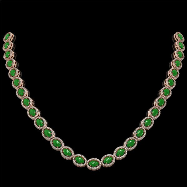 34.11 ctw Jade & Diamond Micro Pave Halo Necklace 10k Rose Gold - REF-617R6K