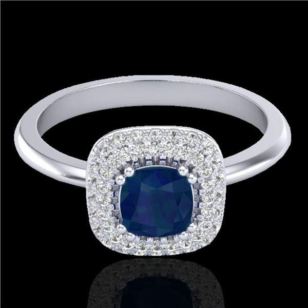 1.16 ctw Sapphire & Micro VS/SI Diamond Ring Halo 18k White Gold - REF-80H2R