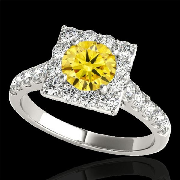 2 ctw Certified SI/I Fancy Intense Yellow Diamond Halo Ring 10k White Gold - REF-218A2N