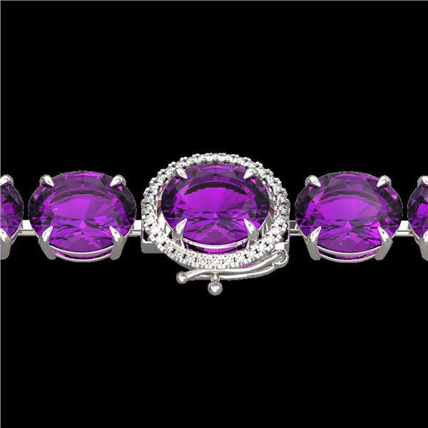 78 ctw Amethyst & Micro Pave Diamond Bracelet 14k White Gold - REF-218W2H