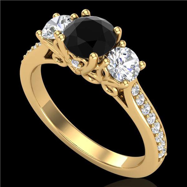 1.67 ctw Fancy Black Diamond Art Deco 3 Stone Ring 18k Yellow Gold - REF-156F4M