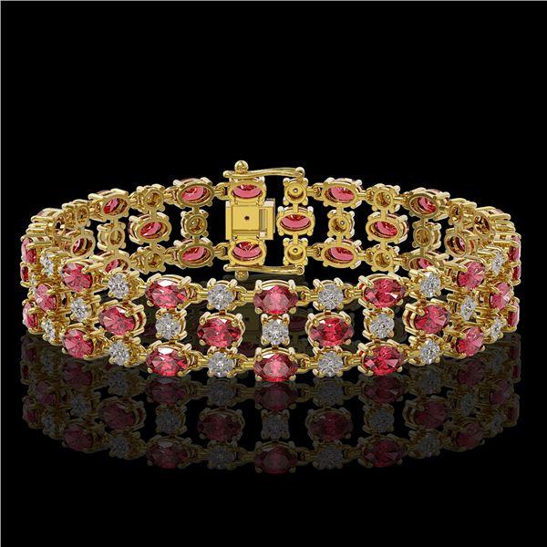 15.64 ctw Tourmaline & Diamond Row Bracelet 10K Yellow Gold - REF-245K5Y
