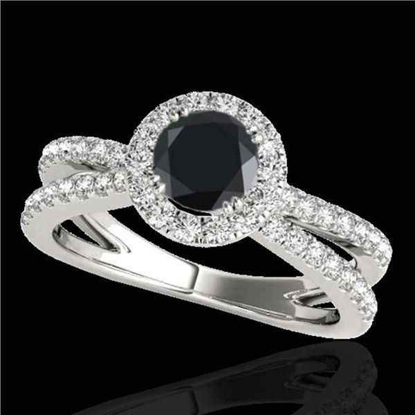 2 ctw Certified VS Black Diamond Solitaire Halo Ring 10k White Gold - REF-79G3W