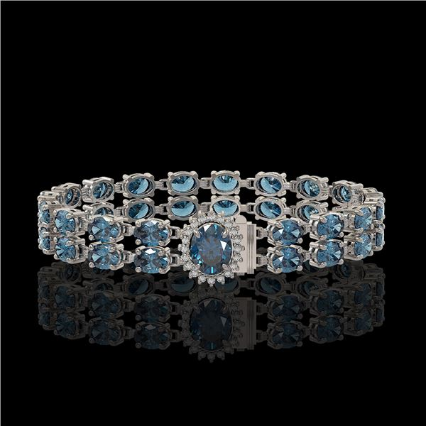 29.22 ctw London Topaz & Diamond Bracelet 14K White Gold - REF-218N2F
