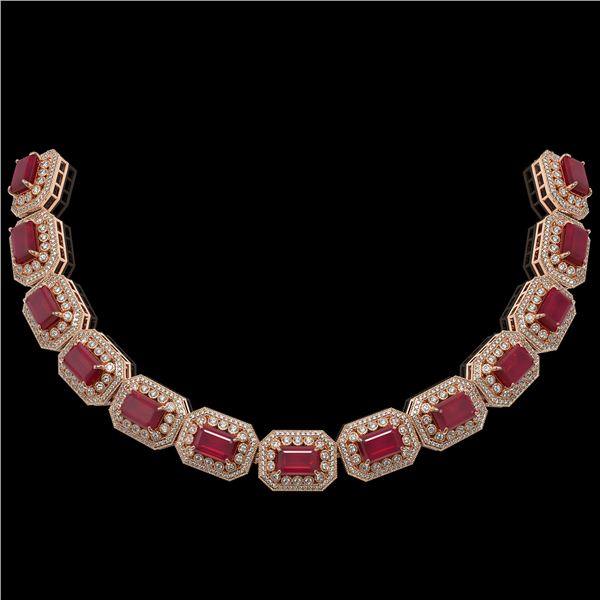 137.65 ctw Certified Ruby & Diamond Victorian Necklace 14K Rose Gold - REF-2875W6H