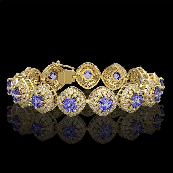38.1 ctw Tanzanite & Diamond Victorian Bracelet 14K Yellow Gold - REF-1136Y8X