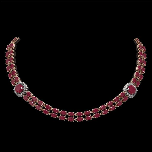 43.97 ctw Ruby & Diamond Necklace 14K Rose Gold - REF-527F3M