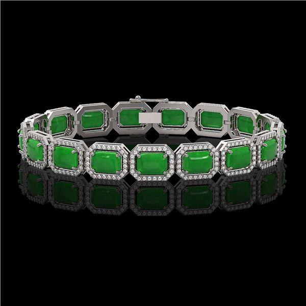 25.36 ctw Jade & Diamond Micro Pave Halo Bracelet 10k White Gold - REF-345H5R