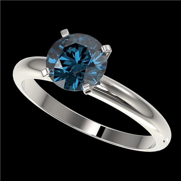 1.47 ctw Certified Intense Blue Diamond Engagment Ring 10k White Gold - REF-147Y3X