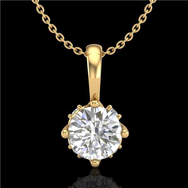 0.62 ctw VS/SI Diamond Art Deco Stud Necklace 18k Yellow Gold - REF-101F8M