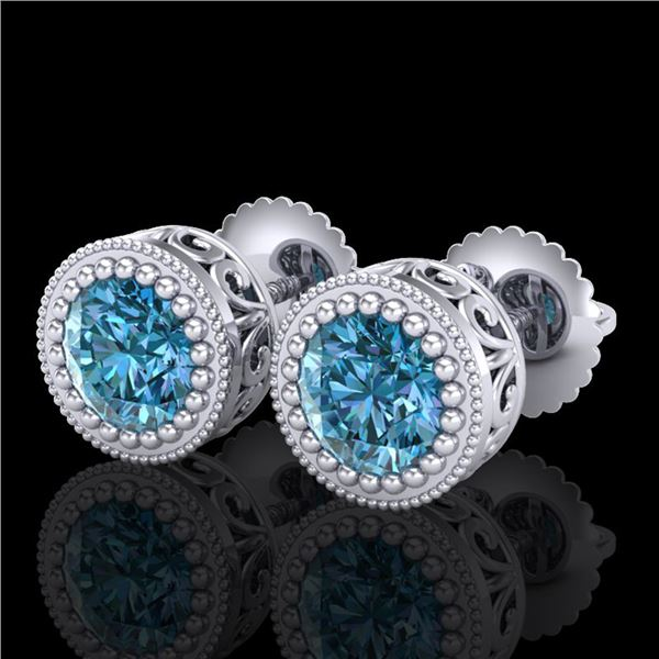 1.09 ctw Fancy Intense Blue Diamond Art Deco Earrings 18k White Gold - REF-143M6G