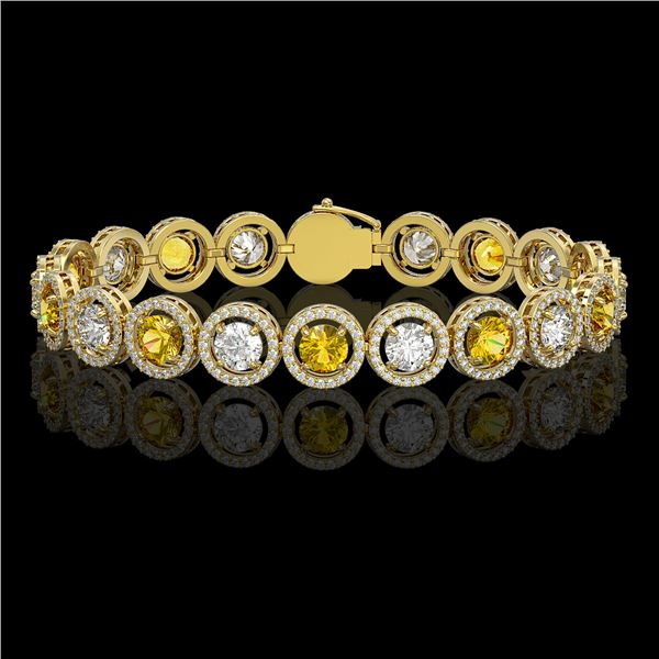 13.76 ctw Canary & Diamond Micro Pave Bracelet 18K Yellow Gold - REF-1461G3W
