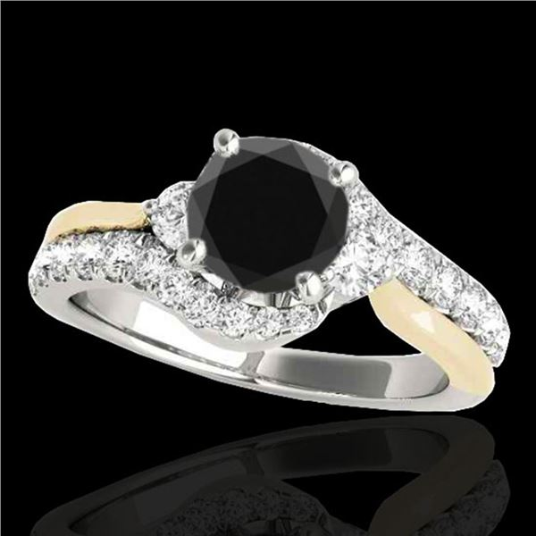 1.6 ctw Certified VS Black Diamond Bypass Solitaire Ring 10k 2Tone Gold - REF-58G2W