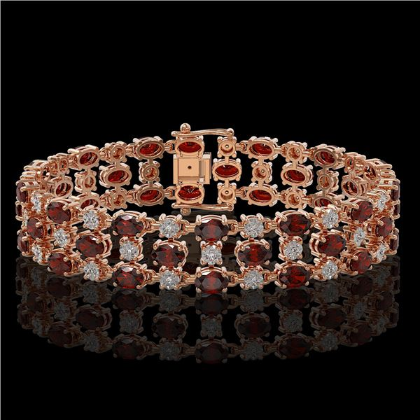 13.12 ctw Garnet & Diamond Row Bracelet 10K Rose Gold - REF-209Y3X