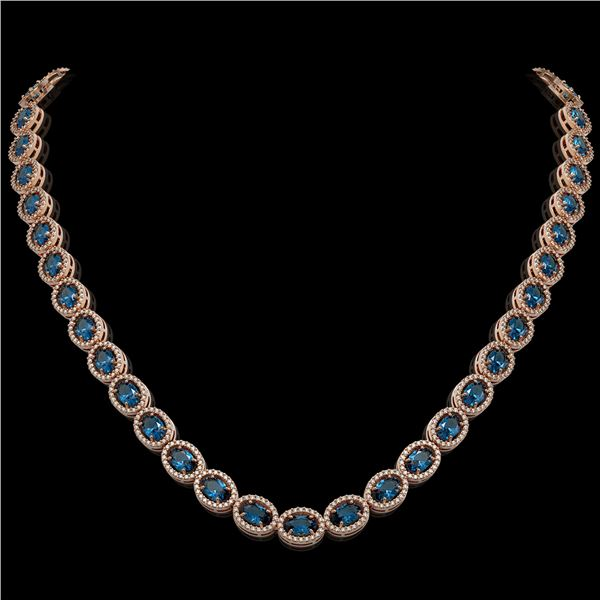33.25 ctw London Topaz & Diamond Micro Pave Halo Necklace 10k Rose Gold - REF-600H2R
