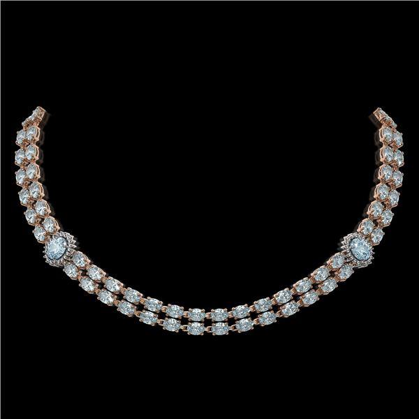 39.28 ctw Sky Topaz & Diamond Necklace 14K Rose Gold - REF-454Y5X