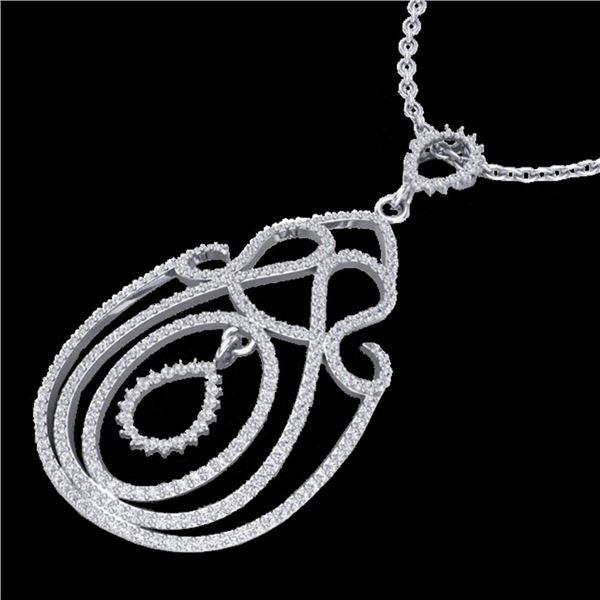 2 ctw Micro Pave Designer VS/SI Diamond Necklace 14k White Gold - REF-170X9A