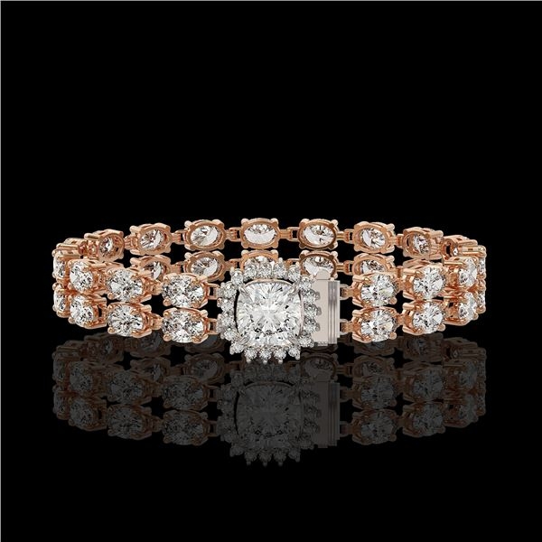 13.82 ctw Cushion Cut & Oval Diamond Bracelet 18K Rose Gold - REF-1648R8K