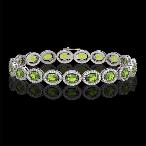 13.87 ctw Peridot & Diamond Micro Pave Halo Bracelet 10k White Gold - REF-263M6G