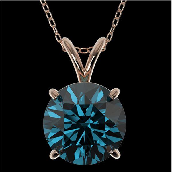 2 ctw Certified Intense Blue Diamond Solitaire Necklace 10k Rose Gold - REF-280R8K