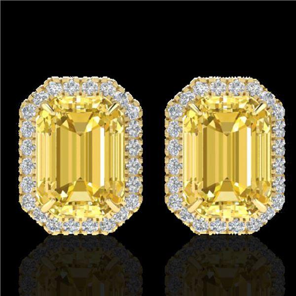 8.40 ctw Citrine & Micro Pave VS/SI Diamond Earrings 18k Yellow Gold - REF-80F2M