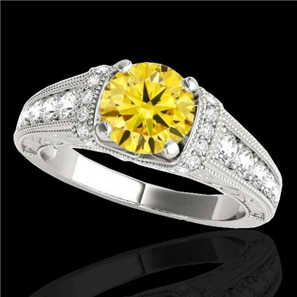 1.75 ctw Certified SI Intense Yellow Diamond Antique Ring 10k White Gold - REF-245H5R