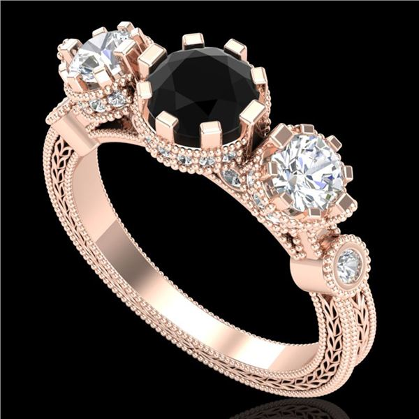 1.75 ctw Fancy Black Diamond Art Deco 3 Stone Ring 18k Rose Gold - REF-153R6K