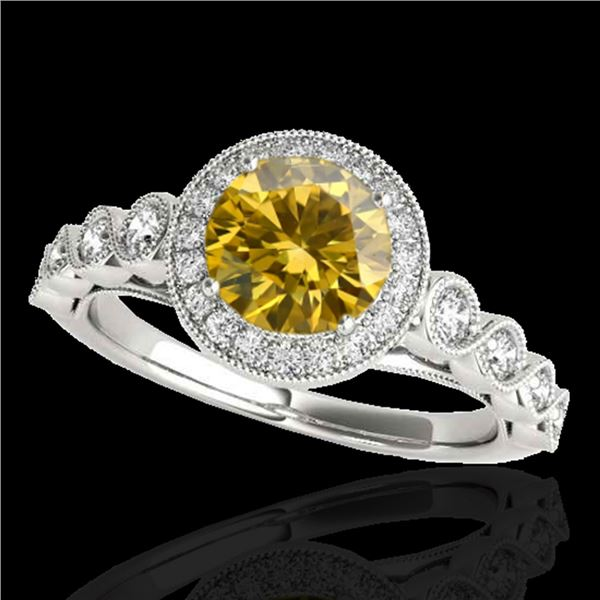 1.50 ctw Certified SI/I Fancy Intense Yellow Diamond Ring 10k White Gold - REF-204Y5X