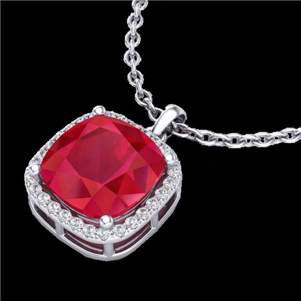 6 ctw Ruby & Micro Pave Halo VS/SI Diamond Necklace 18k White Gold - REF-85X5A