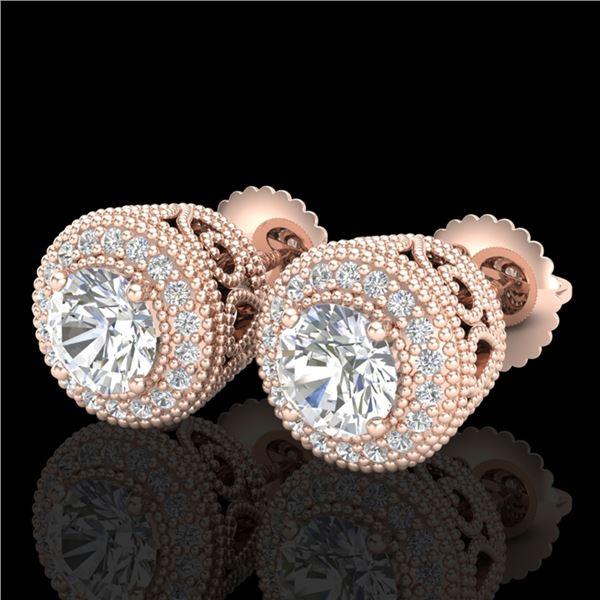1.55 ctw VS/SI Diamond Solitaire Art Deco Stud Earrings 18k Rose Gold - REF-259N3F
