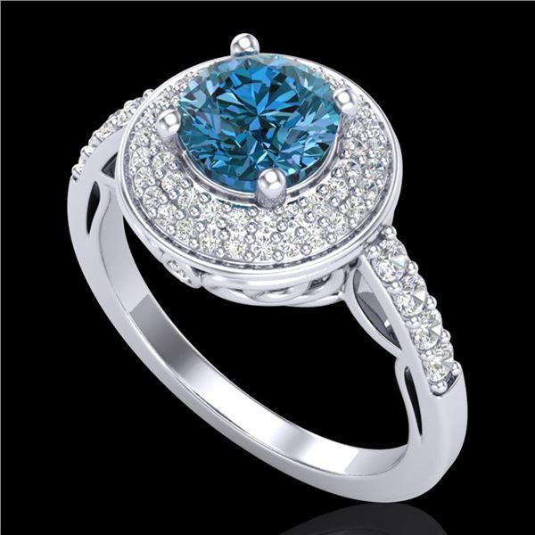 1.7 ctw Intense Blue Diamond Engagment Art Deco Ring 18k White Gold - REF-236M4G
