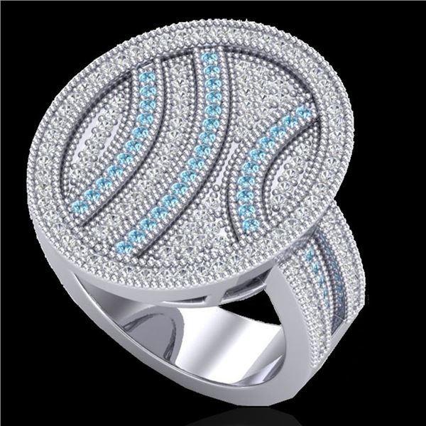 1.25 ctw Micro Pave Blue & White VS/SI Diamond Ring 14k White Gold - REF-135A5N
