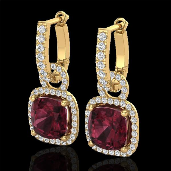 7 ctw Garnet & Micro Pave VS/SI Diamond Earrings 18k Yellow Gold - REF-105H5R