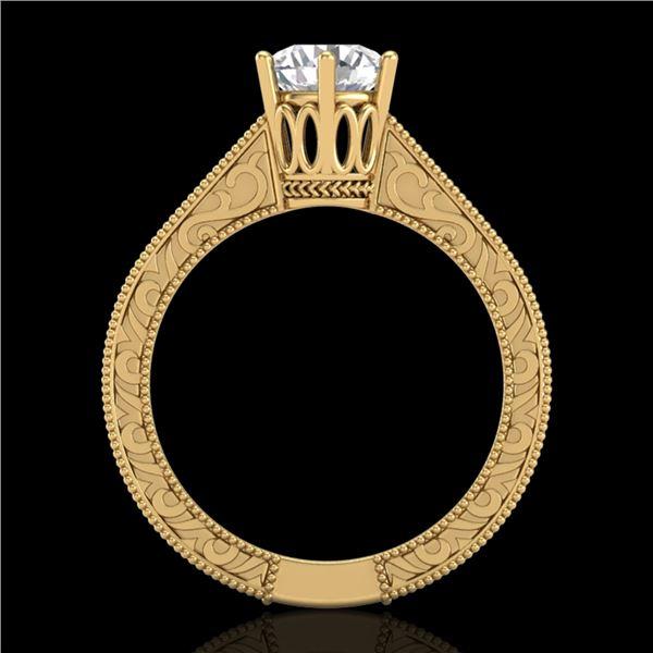 1 ctw VS/SI Diamond Solitaire Art Deco Ring 18k Yellow Gold - REF-330R2K