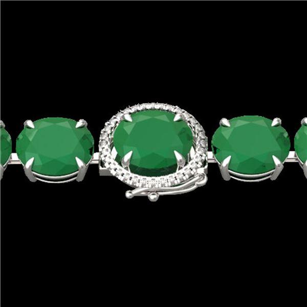 76 ctw Emerald & Micro VS/SI Diamond Bracelet 14k White Gold - REF-709X3A