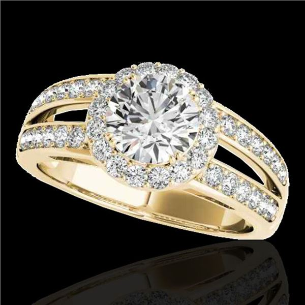 1.6 ctw Certified Diamond Solitaire Halo Ring 10k Yellow Gold - REF-214K3Y