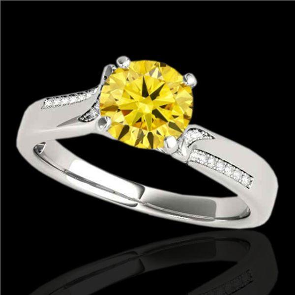 1.18 ctw Certified SI/I Fancy Intense Yellow Diamond Ring 10k White Gold - REF-190X9A