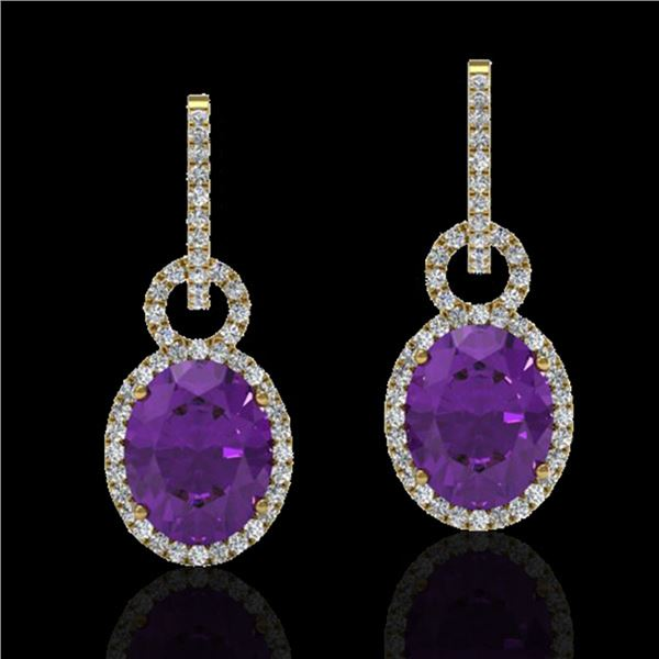 6 ctw Amethyst & Micro Pave Halo VS/SI Diamond Earrings 14k Yellow Gold - REF-98A2N