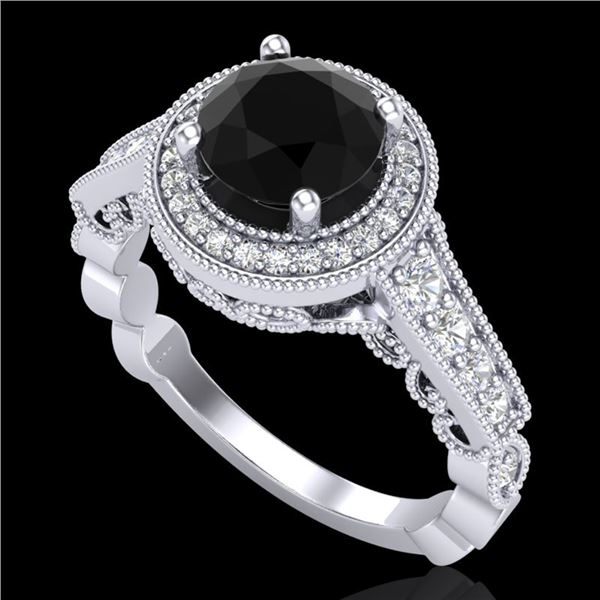 1.91 ctw Fancy Black Diamond Engagment Art Deco Ring 18k White Gold - REF-130M9G