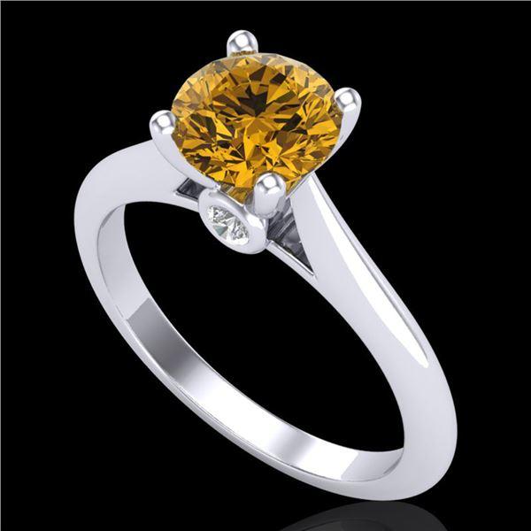 1.36 ctw Intense Fancy Yellow Diamond Art Deco Ring 18k White Gold - REF-238N6F