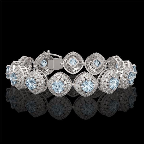 32.95 ctw Aquamarine & Diamond Victorian Bracelet 14K White Gold - REF-982H2R